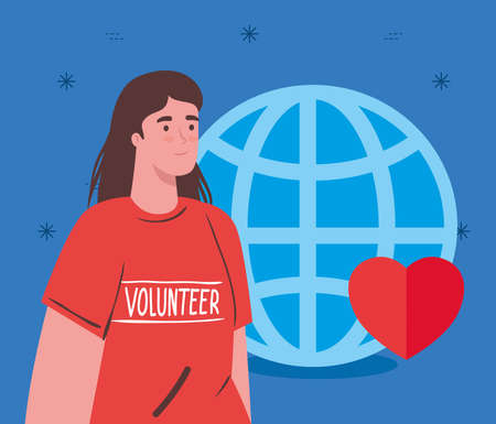 volunteer woman using red shirt with sphere and heart, charity and social care donation concept vector illustration design