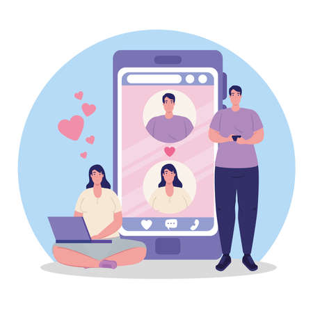online dating service application, smartphone with man and woman profiles, man using smartphone and woman using laptop, modern people looking for couple vector illustration design