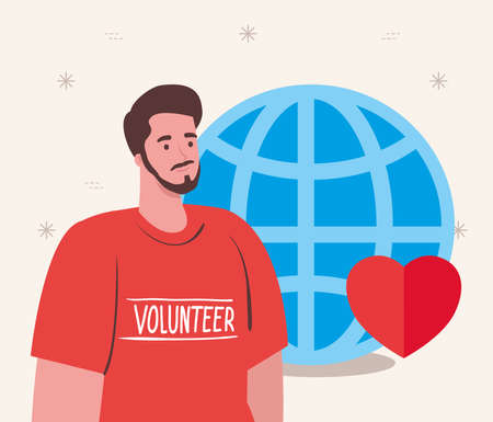 volunteer man using red shirt with sphere and heart, charity and social care donation concept vector illustration design Çizim