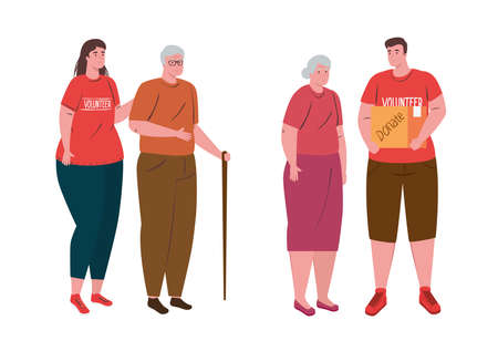 volunteers people with old couple, charity and social care donation concept vector illustration design