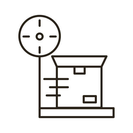 box carton in balance delivery service line style vector illustration design 向量圖像