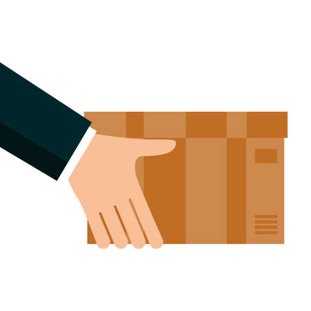 hands lifting box carton delivery service vector illustration design