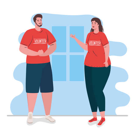 volunteer couple using red shirt, charity and social care donation concept vector illustration design Çizim