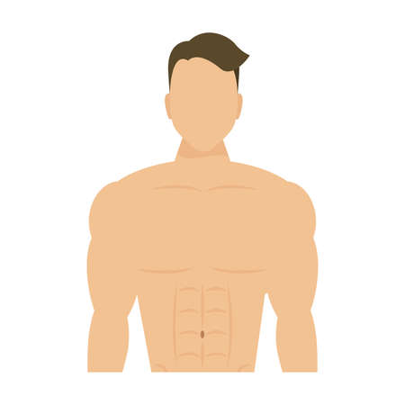 young man athlete without shirt vector illustration design