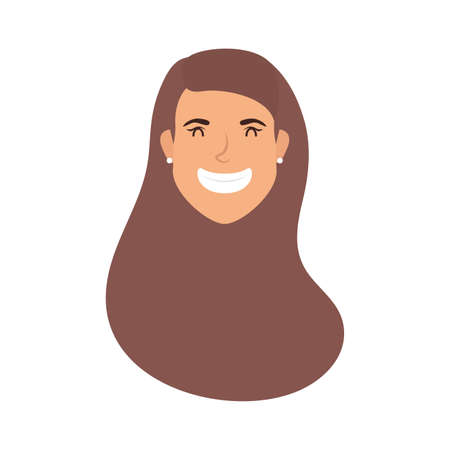 cute young woman head avatar character vector illustration design