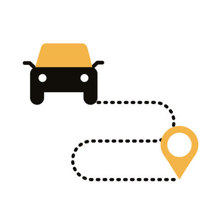 pin and car in the route location silhouette style vector illustration design