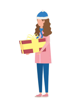 young woman with christmas hat and giftbox vector illustration design