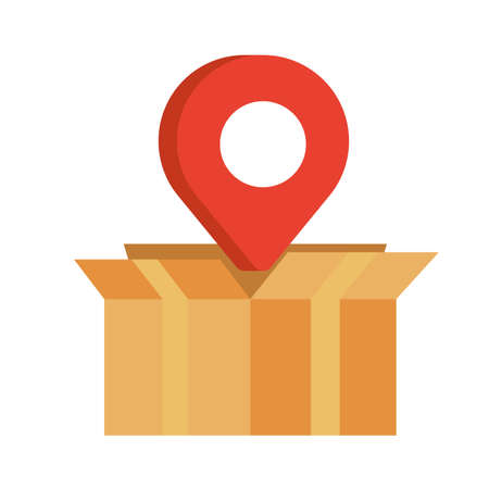 box carton delivery service with pin location vector illustration design