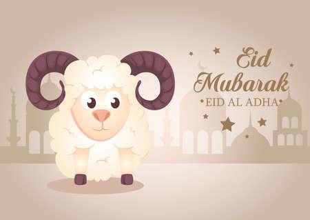 celebration of muslim community festival eid al adha, card with sacrificial sheep and silhouette arabia city vector illustration design