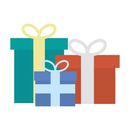 gifts boxes presents isolated icons vector illustration design 向量圖像