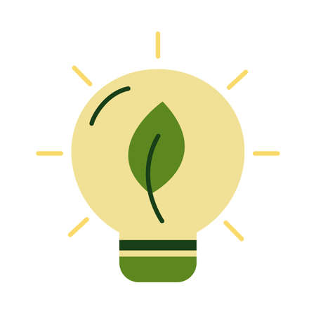 bulb with leaf plant flat style vector illustration design 向量圖像
