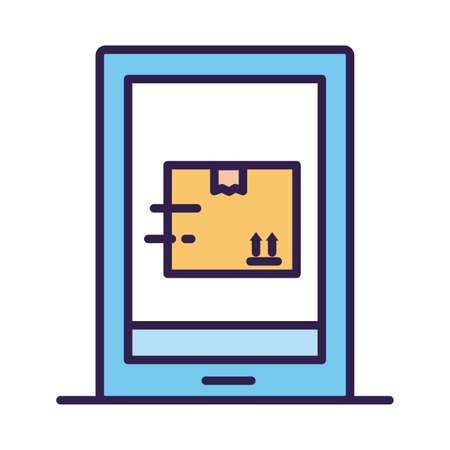 smartphone with box carton delivery service online line and fill vector illustration design