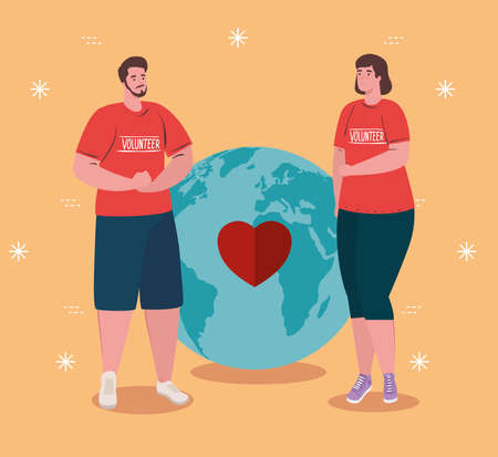 volunteer couple using red shirt with world planet and heart, charity and social care donation concept vector illustration design Çizim