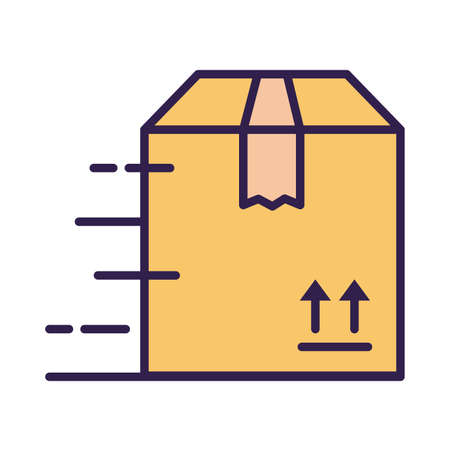 box carton packing postal service line and fill style vector illustration design