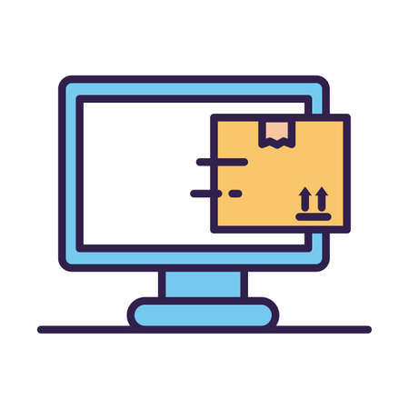 desktop with box carton delivery service online line and fill vector illustration design
