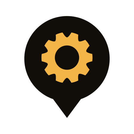 pin pointer locationwith gear silhouette style vector illustration design
