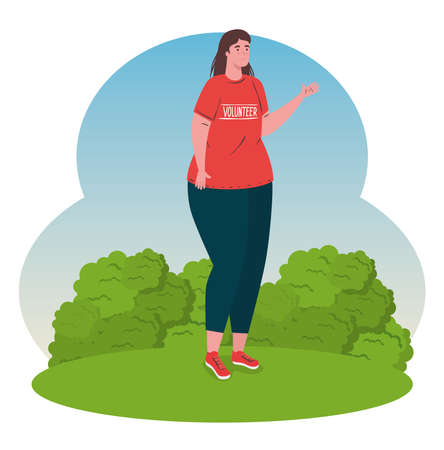 volunteer woman using red shirt, charity and social care donation concept vector illustration design
