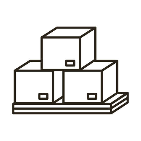 boxes carton packings delivery service line style vector illustration design