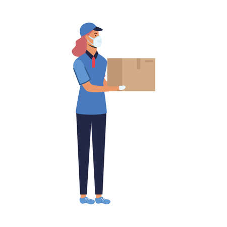 Woman with mask and box design, Safe delivery quarantine logistics and transportation theme Vector illustration