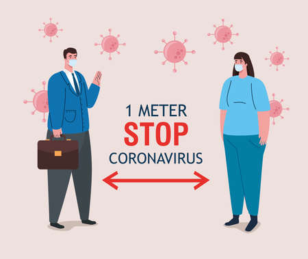 social distancing, stop coronavirus one meter distance, keep distance in public society to people protect from covid 19, couple wearing medical mask against coronavirus vector illustration design