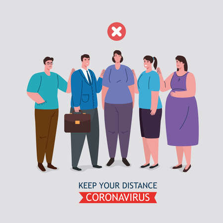 social distancing done in the wrong way, people keeping not safe distance, prevention coronavirus covid 19 vector illustration design 版權商用圖片 - 150989709