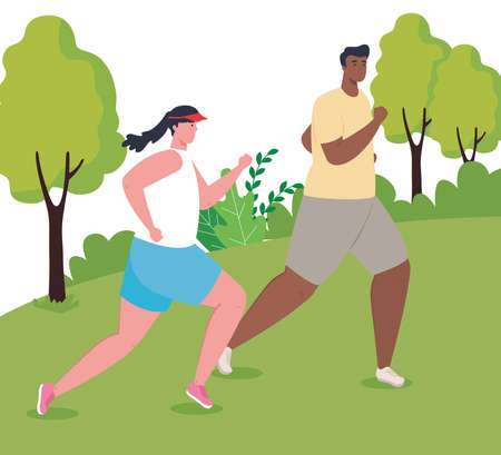 couple marathoners running in park, woman and man run competition or marathon race poster, healthy lifestyle and sport vector illustration design 向量圖像