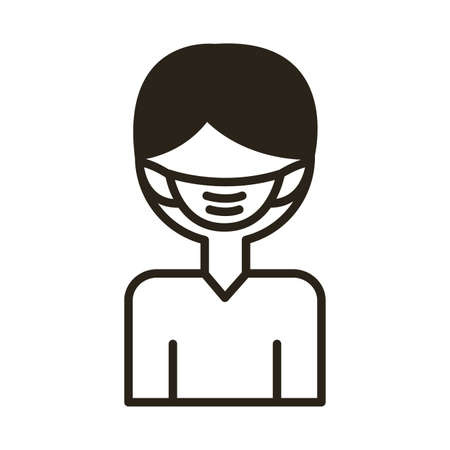 man using face mask accessory line style vector illustration design