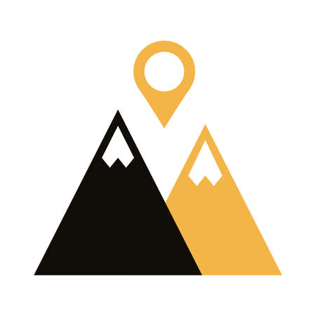 mountain with pin pointer location silhouette style vector illustration design Illustration