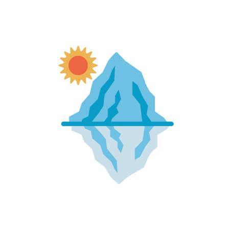 iceberg with sun flat style vector illustration design