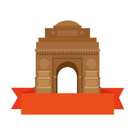 india gate, famous monument of india with ribbon vector illustration design Vecteurs