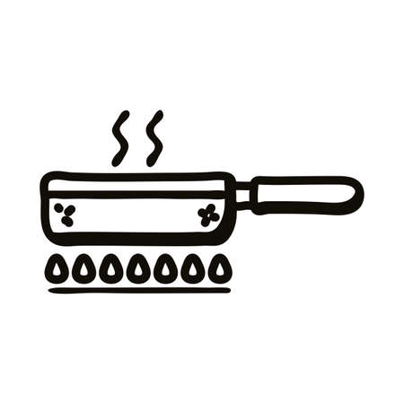 frying pan on fire line style icon design, Cook kitchen eat and food theme Vector illustration