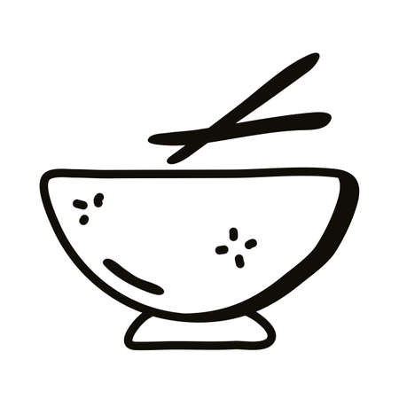 Bowl with chinese sticks line style icon design, Cook kitchen eat and food theme Vector illustration Illusztráció