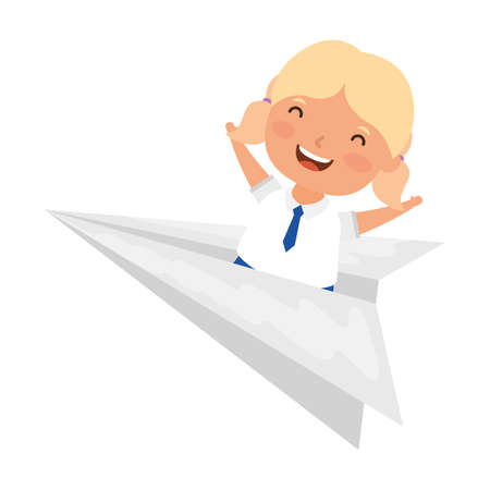 cute little student blond girl with paper airplane vector illustration design