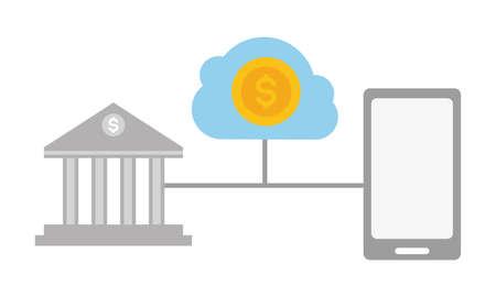 smartphone bank transaction money cloud storage online payment vector illustration Ilustração