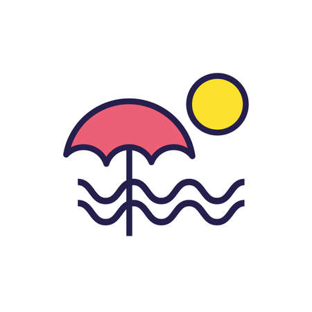 summer seascape with umbrella and waves vector illustration design