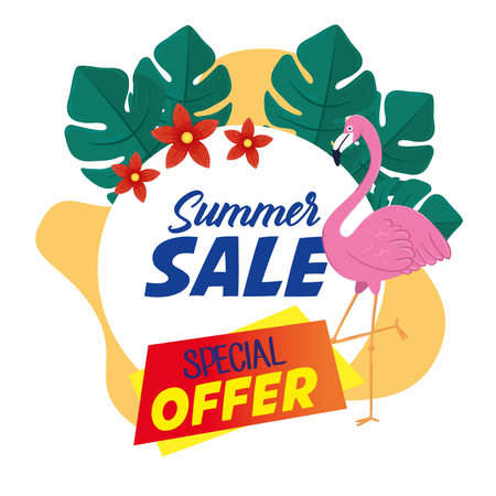 summer sale banner, season discount poster with flemish, tropical leaves and flowers , invitation for shopping with summer sale special offer label, special offer card vector illustration design