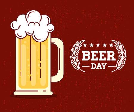 international beer day, august, beer mug vector illustration design