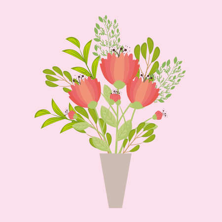 flowers red color in vase, branches with leaves, nature decoration vector illustration design Иллюстрация