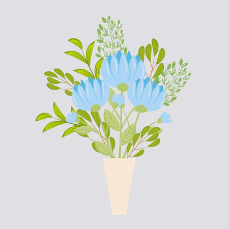 flowers blue color in vase, branches with leaves, nature decoration vector illustration design Иллюстрация