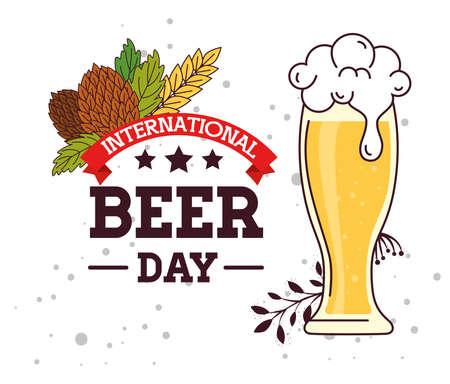 international beer day, august, glass in beer with seeds hop vector illustration design