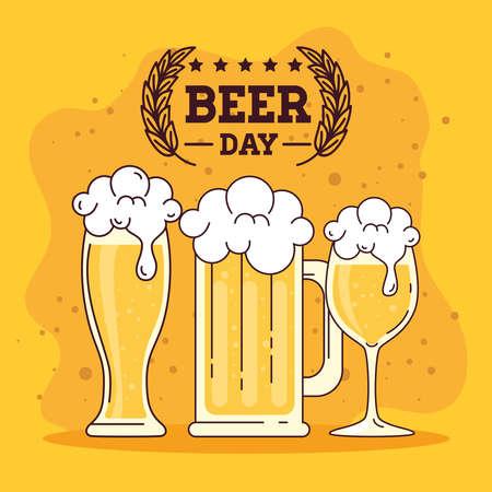 international beer day, august, glasses of beers vector illustration design
