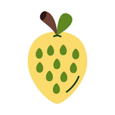 strawberry fresh flat style icon vector illustration design