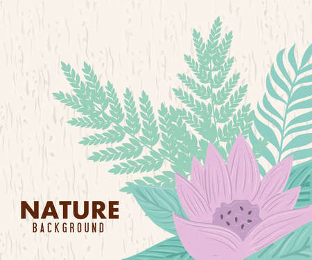 nature background, flower of lilac color pastel with tropical leaves vector illustration design Иллюстрация