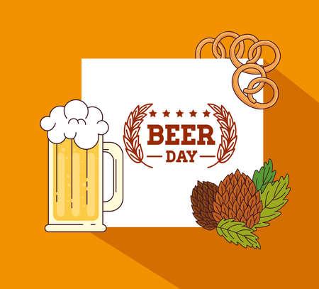 international beer day, august, mug in beer with seeds hop vector illustration design Ilustração