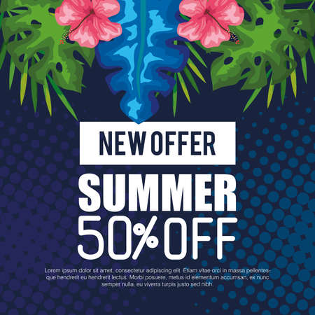new offer of summer fifty percent off, banner with flowers and tropical leaves, exotic floral banner vector illustration design Иллюстрация