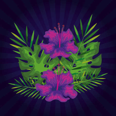 flowers with branches and tropical leaves decoration vector illustration design
