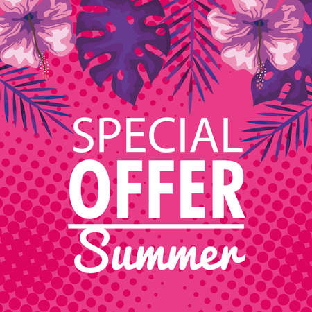 special offer summer, banner with flowers and tropical leaves, exotic floral banner vector illustration design Иллюстрация