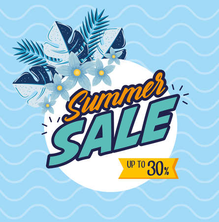 summer sale banner, season discount poster with tropical leaves and flowers, invitation for shopping with up to thirty percent label, special offer card vector illustration design