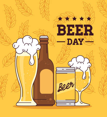 international beer day, august, bottle, can, cup and glass of beer vector illustration design