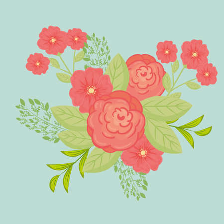 flowers red color, branches with leaves, nature decoration vector illustration design